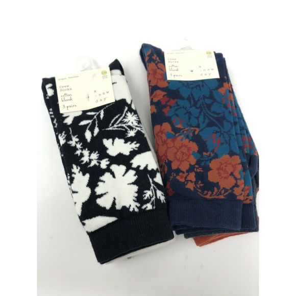 A New Day Crew Socks 6 Pairs Multicolor 2 Sets